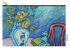 Carry-all Pouch featuring the painting Frog Fishing Under Chrysanthemums by Xueling Zou