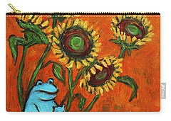 Frog I Padding Amongst Sunflowers Carry-all Pouch by Xueling Zou