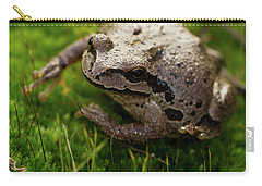 Carry-all Pouch featuring the photograph Frog On The Grass by Jean Noren