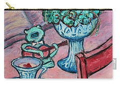 Carry-all Pouch featuring the painting Frog Singing At Teatime by Xueling Zou