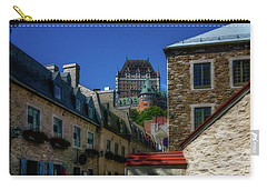 Carry-all Pouch featuring the photograph From Below Fairmont Le Chateau Frontenac by Chris Bordeleau