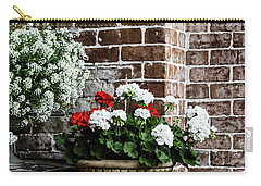 Carry-all Pouch featuring the photograph Front Porch With Flower Pots by Kim Hojnacki