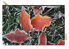 Carry-all Pouch featuring the photograph Frosted Leaves by Shari Jardina