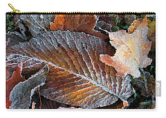Carry-all Pouch featuring the photograph Frosted Painted Leaves by Shari Jardina