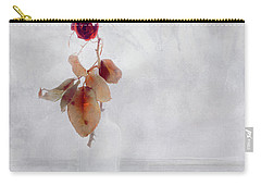 Carry-all Pouch featuring the photograph Frosted Red Rose In Window Of Time by Anna Louise