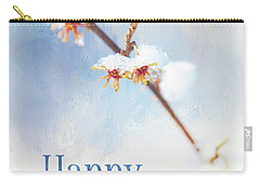 Frosted Witch Hazel Blossoms Holiday Card Carry-all Pouch