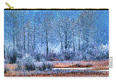 Carry-all Pouch featuring the digital art Frosty Morning At The Marsh Photo Art by Sharon Talson
