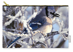 Frosty Morning Blue Jay Carry-all Pouch