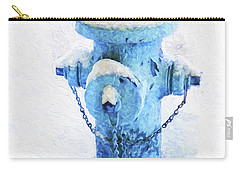 Carry-all Pouch featuring the photograph Frozen Blue Fire Hydrant by Andee Design
