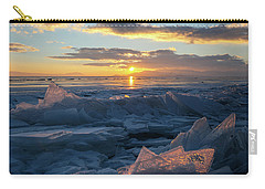 Frozen Sevan Lake And Icicles At Sunset, Armenia Carry-all Pouch
