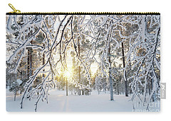 Carry-all Pouch featuring the photograph Frozen Trees by Delphimages Photo Creations