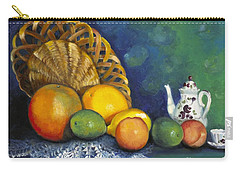 Fruit On Doily Carry-all Pouch by Marlene Book