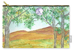 Carry-all Pouch featuring the drawing Full Moon And Robin Eggs by Cathie Richardson