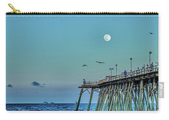 Full Moon At Kure Beach Pier Carry-all Pouch by Phil Mancuso