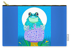 Carry-all Pouch featuring the digital art Full Moon Froggy  by Nick Gustafson