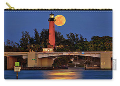 Full Moon Over Jupiter Lighthouse, Florida Carry-all Pouch by Justin Kelefas