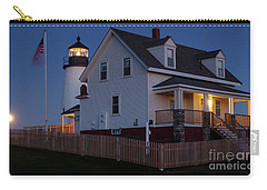 Carry-all Pouch featuring the photograph Full Moon Rise At Pemaquid Light, Bristol, Maine -150858 by John Bald