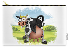 Carry-all Pouch featuring the drawing Funny Cow by Julia Art