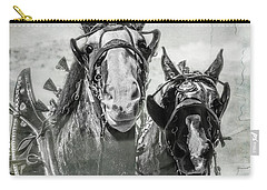 Carry-all Pouch featuring the photograph Funny Draft Horses by Mary Hone