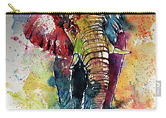 Carry-all Pouch featuring the painting Funny Elephant by Kovacs Anna Brigitta