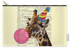 Funny Giraffe, Dictionary Art Carry-all Pouch by Madame Memento