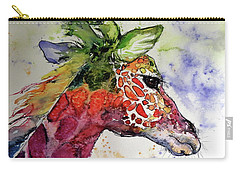 Carry-all Pouch featuring the painting Funny Giraffe by Kovacs Anna Brigitta
