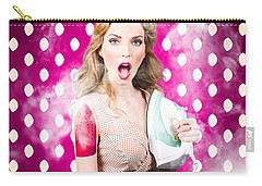 Carry-all Pouch featuring the photograph Funny Pin-up Woman Pressing Clothes. Dry Cleaning by Jorgo Photography - Wall Art Gallery