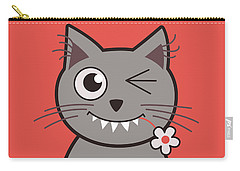 Funny Winking Cartoon Kitty Cat Carry-all Pouch