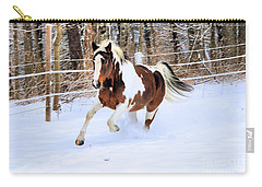 Galloping In The Snow Carry-all Pouch by Elizabeth Dow