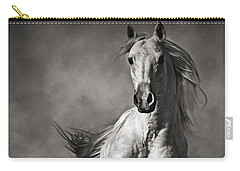 Galloping White Horse In Dust Carry-all Pouch