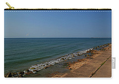 Carry-all Pouch featuring the photograph Galveston Beach At The Seawall by Tikvah's Hope