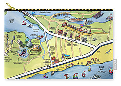 Galveston Texas Cartoon Map Carry-all Pouch