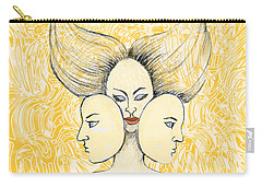 Carry-all Pouch featuring the drawing Game Of Masks by Nareeta Martin