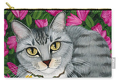 Carry-all Pouch featuring the painting Garden Cat - Silver Tabby Cat Azaleas by Carrie Hawks