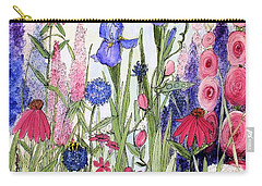 Garden Cottage Iris And Hollyhock Carry-all Pouch by Laurie Rohner
