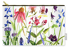 Carry-all Pouch featuring the painting Garden Flowers by Laurie Rohner