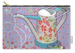 Carry-all Pouch featuring the mixed media Garden Joys In Lovely Lavender by Nancy Lee Moran