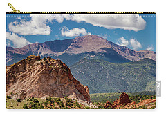 Carry-all Pouch featuring the photograph Garden Of The Gods And Pikes Peak by Bill Gallagher