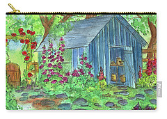 Carry-all Pouch featuring the painting Garden Potting Shed by Cathie Richardson