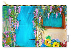 Carry-all Pouch featuring the painting Garden Secrets - Wisteria by Jenny Lee