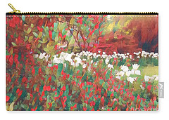 Gardens Of Spring - Tulips In Red And White Carry-all Pouch by Miriam Danar