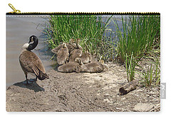 Carry-all Pouch featuring the photograph Geese And Goslings by Ellen Tully