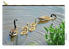 Geese And Goslings Carry-all Pouch by Ludwig Keck