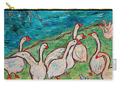 Carry-all Pouch featuring the painting Geese By The Pond by Xueling Zou