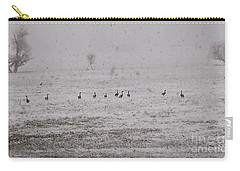 Geese During The Snow Storm Carry-all Pouch