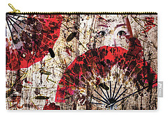 Carry-all Pouch featuring the digital art Geisha Grunge by Paula Ayers