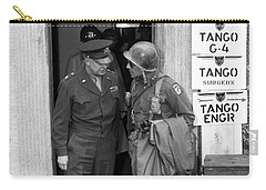 Carry-all Pouch featuring the photograph General Eisenhower And General Ridgway  by War Is Hell Store
