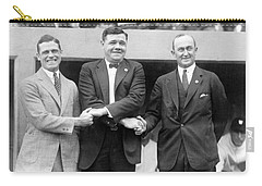 Carry-all Pouch featuring the photograph George Sisler - Babe Ruth And Ty Cobb - Baseball Legends by International  Images