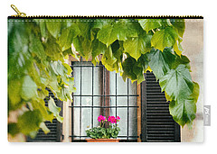 Carry-all Pouch featuring the photograph Geraniums On Windowsill by Silvia Ganora
