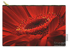 Carry-all Pouch featuring the photograph Gerbera Daisy In Red by Sharon Talson
